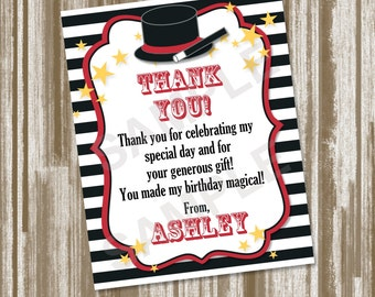 Magic Theme Birthday Party Thank You Note A2 size Set of 10--CUSTOM PRINTED--Includes Envelopes (1.50 each)