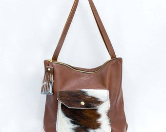 Leather Backpack Convertible - Backpack Purse - Cowhide Bag - Brown Leather Backpack with Hair on Cowhide Pocket