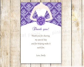 Bridal Shower Thank You Card Damask Thank You Note Dress Thank You Card Wedding Shower Greeting Card Couples Shower Message Card Purple