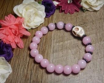 Rose Quartz Skull Mala Bracelet