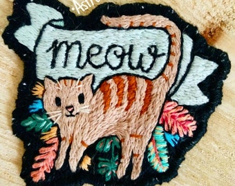 Hand-embroidered cat patch. Handembroidery Cat Patch.