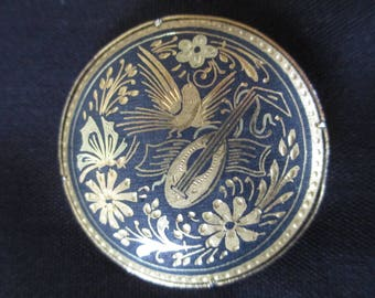 "Brooch, Pin, Black and Gold, Bird, Mandolin, Flowers, Lovely for Scarf or Lapel, 1 1/2"" Diameter, Unique Clasp"