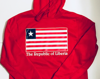 Light weight Red Liberian Flag hoodie.