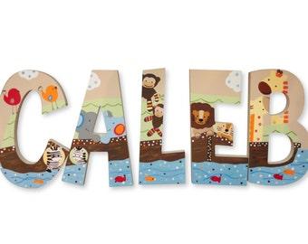 Noahs Ark Animal Noah Custom Hand Painted Nursery Letters Nursery Wall Hanging Letters Wood Nursery Letters Name Nursery Decor