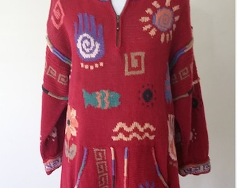 Icelandic sweater, M, L, maroon sweater, tunic sweater, zip front sweater, hippie sweater, whimsical sweater, novelty sweater, 80's sweater