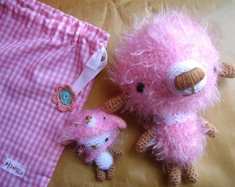 RESERVED FOR HugGrrr- Amigurumi pink bear and friend