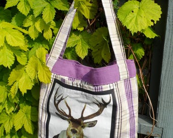 Hand Made Stag Print Shopping Tote
