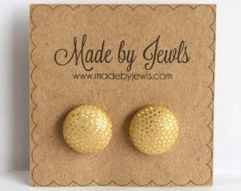 Metallic Light Gold Handmade Fabric Covered Hypoallergenic Button Post Stud Earrings 10mm
