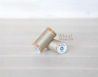 Organic Cotton Thread GOTS - 300 Yards Wooden Spool  - Thread Color Wheat  - No. 4825 - Eco Friendly Thread - 100% Organic Cotton Thread