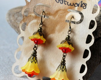 Tiered Bells Earrings in Yellow Rainbow Colors