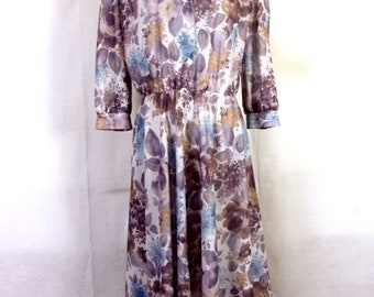 vtg 70s California Looks Retro Leaf Pattern Abstract Dress hippy boho SZ 14