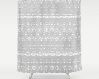 Grey Shower Curtain Gray White Geometric Light