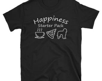 Happiness Starter Pack Coffee Pizza Goldendoodle T-Shirt