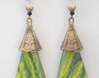 Vintage Gablonz Old Czech Hand-Carved Glass Nouveau Filigree Green Drop Earrings with Beads