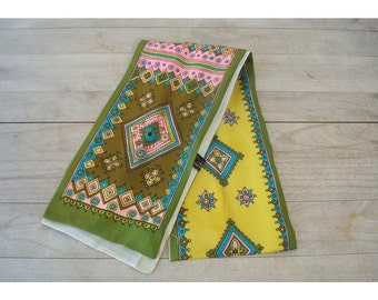 Hand Printed Scarf - Olive Turquoise Pink Yellow - Made in Japan