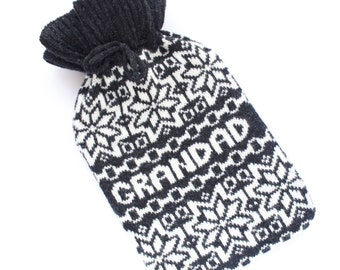 Personalised Nordic Charcoal Grey Snowflake Knitted Hot Water Bottle Cosy/ Cozy