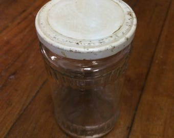 Antique Clear Jar With White Lid