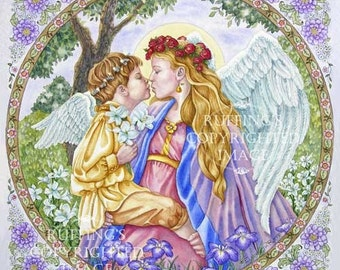 Angels Kiss Giclee Fine Art Fantasy Print, Purple, Lavender, Lilies, Floral Border, Signed Elizabeth Ruffing, on 8.5 x 11 inch art paper
