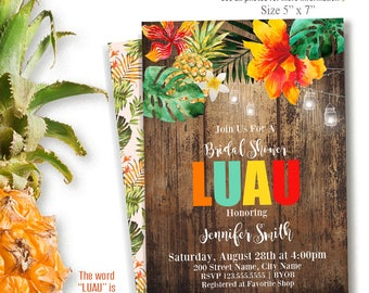 Printable LUAU Invitation, tropical party templates, printable luau templates, Instant Download Self-Editable PDF A240