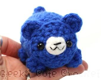 Large Blue Bear Yama Amigurumi Plush Toy Crochet Stuffed Animal