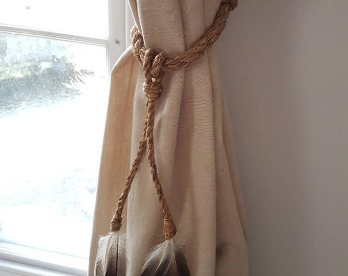 Manila Rope Feather Tassel Curtain Tie Backs / Shabby chic curtain ties / nautical curtain hold back/ boho decor tie backs Feather Christmas