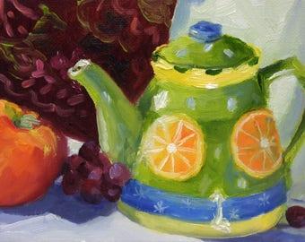 Small Still Life Oil Painting on Canvas Original Art