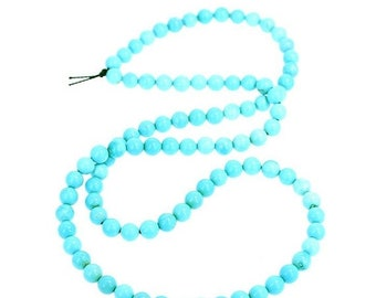 Huge Sale : ) 25% Off FOX MINE AMERICAN Turquoise Beads 5.3mm Round Blue #2