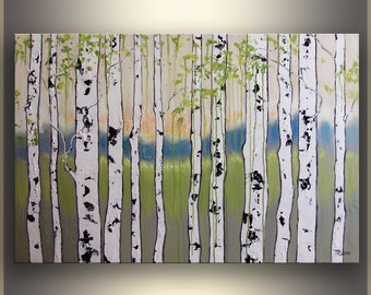 Birch Tree Painting, ORIGINAL Art, Oil Painting, landscape Painting Landscape Art Painting, Wall Art, Green Painting, by Tatjana, Modern Art