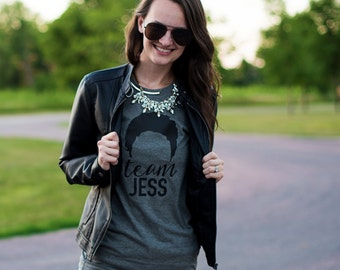 "Gilmore Girls shirt Grey ""Team Jess"" Shirt  Gilmore Girls Tee Shirt Lorelai Gilmore Rory tshirt Stars Hollow shirt gilmore girls fan gift"