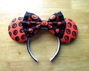 Halloween Minnie Mouse Ears - Black Jack-o-lanterns on Orange