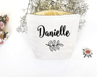 Personalised Cosmetic Bag , Bridesmaid Cosmetic Pouch , Bridesmaid Gift , Cosmetic Bag  , MakeUp Bag , Bachelorette , Custom Name Pouch