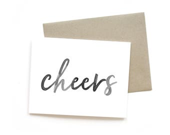 Cheers | Card || Greeting Card | Friend Card | Simple Card | Brush lettering | Watercolour | Just Because Card | Black and White | Thank You