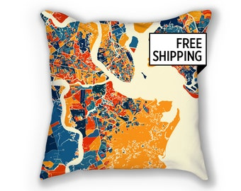 Charleston Map Pillow - South Carolina Map Pillow 18x18