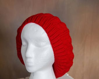 Deep Red Slouch/Beret Hand Knit Hat