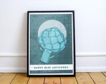 Happy Blue Artichoke - Poster - A4