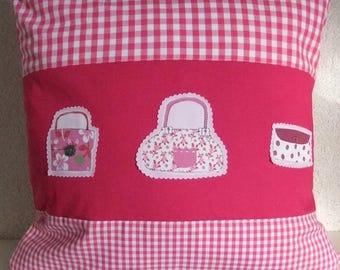 Cushion cover, cushion cover, pink, pink, fuchsia, plaid and bags