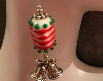 Christmas Earrings * Murano Glass and Silver Bell Christmas Earrings * Ribbon candy * Lampwork Jewelry