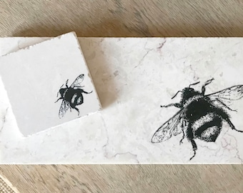 BEE natural stone platter and coaster tableware (various sizes)