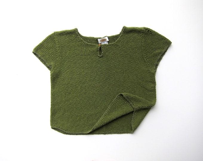 Olive Silk Knit Top