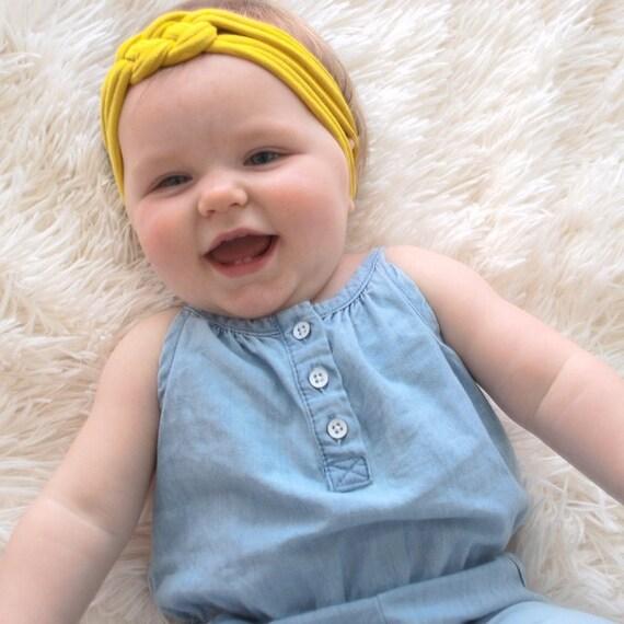 Baby Knot Headbands, Yellow Knot Headband, Color Mustard Headband, Turban Headband, Baby Headwrap, Newborn Headband, Fabric headwrap