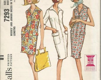 1960s Slim Sheath Dress Front Zipper Closing Sleeve Variations Pockets McCall's 7293 Uncut FF Size 14 Bust 34 Women's Vintage Sewing Pattern