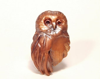 Small Golden Owl Brooch or Pendant, Hand-Sculpted Metallic Look Polymer Clay