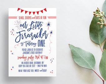 Firecracker Birthday Party Invites / Fourth of July Party / Semi-Custom Invites / Little Boy Birthday / Printed Invitations