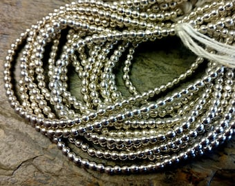 Round Brass Bead, 3.5mm, African Brass Trade Beads, Silver Plated, 25 Inch, Priced per Strand