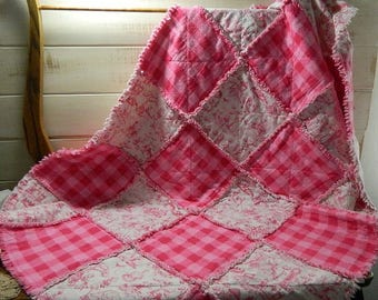 Mother Goose Nursery Rhyme Rag Quilt Throw -  Pink and White Quilted Rag Crib Throw - READY TO SHIP