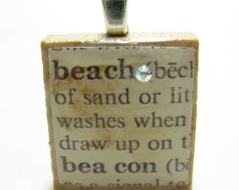 Beach and beacon - vintage dictionary Scrabble tile with Swarovski crystal