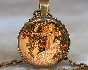 Garden of Paradise fairy art pendant fairy necklace fairy tale jewelry fairy tale jewellery fairy pendant key chain key ring key fob