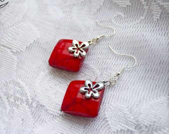 large square earring red square earrings holiday urban style 1980s charmed earrings deep red flower geometric everyday earrings