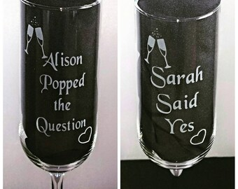 Pair of Engraved Engagement Champagne Flutes - Personalised - Popped the Question