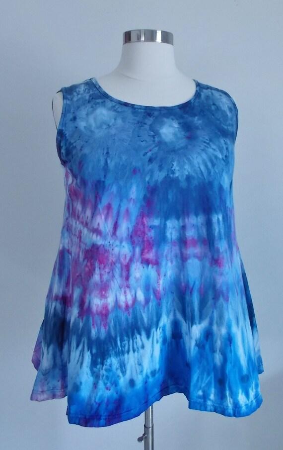 Ice dye tie dye  Hi-Lo Women's XL Sleeveless Top